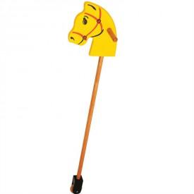Bigjigs Toys Koníček na tyči žlutý