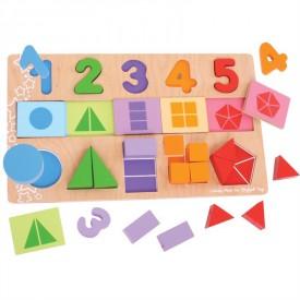 Velká deska s vkládáním - Čísla, barvy, tvary
