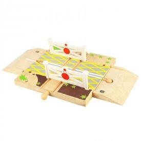 Dřevěné autodráhy Bigjigs - Železniční přejezd s brankami