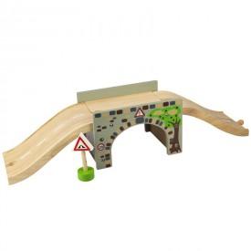 Dřevěné autodráhy Bigjigs - Dřevěná cesta - Nadjezd