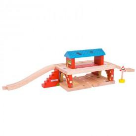 Dřevěné autodráhy Bigjigs - Nádraží nad cestou