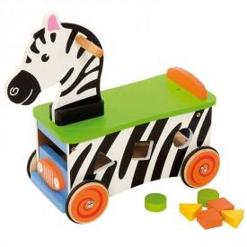 Dřevěný motorický vozík Zebra