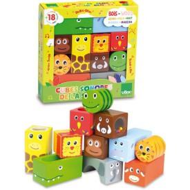Dřevěná hračka Vilac - Chrastící kostky se zvířátky