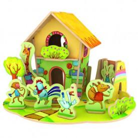 Dřevěné skládačky 3D puzzle - Domeček se zvířátky II