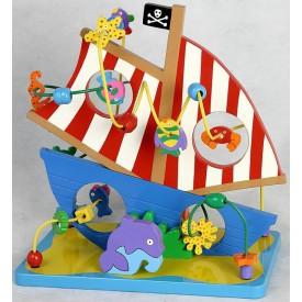 Dřevěné hračky - Motorické hračky - Labyrint  loď - piráti