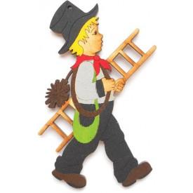 Dřevěné dekorace - dřevěné magnetky - magnetka Kominíček