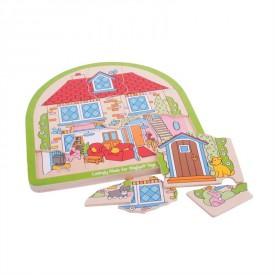 Bigjigs dřevěné vícevrstvé puzzle Dům