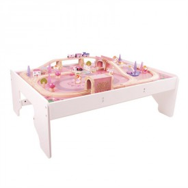 Bigjigs dřevěná dívčí vláčkodráha se stolem