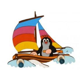 Dřevěný 2 věšáček - Krtek na lodi
