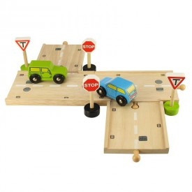 Bigjigs Rail dřevěné autodráhy - Křižovatka