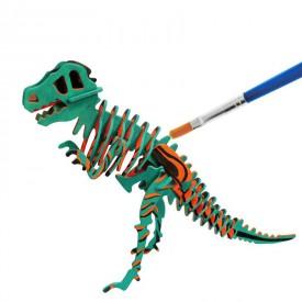 Robotime dřevěná skládačka - T-Rex +barvy a štětec