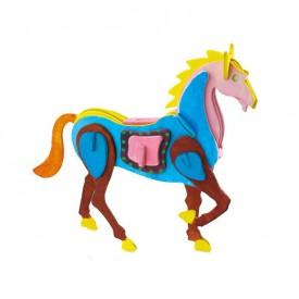 Robotime dřevěná skládačka - Kůň +barvy a štětec