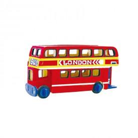 Robotime dřevěná skládačka - Patrový autobus +barvy a štětec