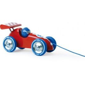 Vilac Tahací závodní auto cervené s modrým křídlem