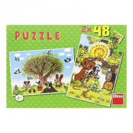 DINO Puzzle Krtek Léto s Krtečkem 26,4x18,1 cm 2x48 dílků