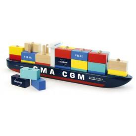 Vilac dřevěná kontejnerová loď - nasazování