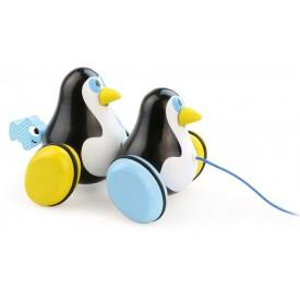 Dřevěná hračka Vilac - Kolíbací tahací tučnáci