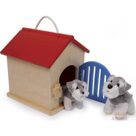 Dřevěná psí bouda včetně vybavení