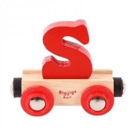 Bigjigs Rail vagónek dřevěné vláčkodráhy - Písmeno S
