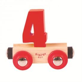 Bigjigs Rail vagónek dřevěné vláčkodráhy - Číslo 4