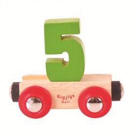 Bigjigs Rail vagónek dřevěné vláčkodráhy - Číslo 5