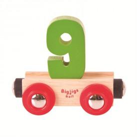 Bigjigs Rail vagónek dřevěné vláčkodráhy - Číslo 9