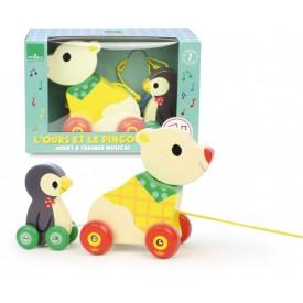 Vilac dřevěná hudební tahací hračka - Medvěd s tučňákem