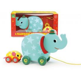 Vilac dřevěná hudební tahací hračka - Slon s myškou