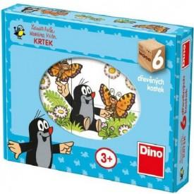 Dino Kostky kubus dřevěný Krtek 6Ks