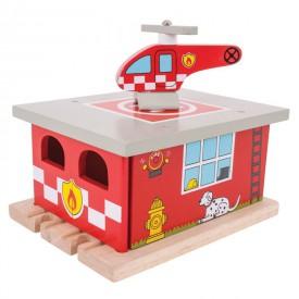 Bigjigs Rail dřevěná vláčkodráha - Depo hasičská stanice
