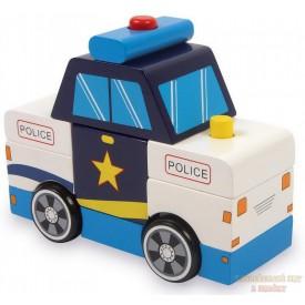 Small foot Dřevěné barevné auto Rozkládací auto policie
