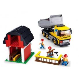 Stavebnice SLUBAN B0552 Sklápěcí vůz se stodolou