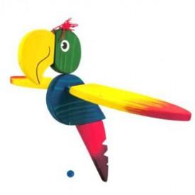 CEEDA CAVITY Velký dřevěný papoušek žíhaný s modrým bríškem
