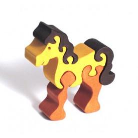 CEEDA CAVITY Dřevěné malé puzzle hnědý Kůň