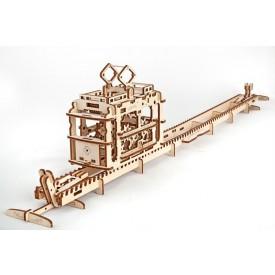 Ugears dřevěná stavebnice 3D mechanické Puzzle - Tramvaj