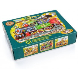 Topa Toys Dřevěné kostky s obrázky Dopravní prostředky 12ks