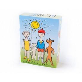 Topa Toys Dřevěné kostky s obrázky Pejsek a kočička 12ks