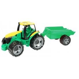 Traktor bez lžíce a bagru s přívěsem