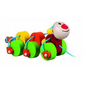 Dřevěné hračky - Tahací housenka Julie
