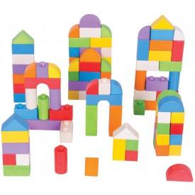 Bigjigs Toys dřevěné Spojkostky - Barevný set 100 kusů