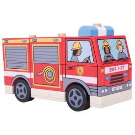 Bigjigs Toys dřevěné hračky - Nasazování hasiči