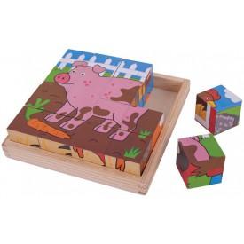 Bigjigs Toys obrázkové kostky kubusy - Farma - 9 kostek