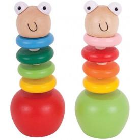 Bigjigs Toys dřevěné hračky - Barevný červík s jablíčkem