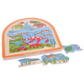 Bigjigs Toys dřevěné vícevrstvé puzzle  - Dinosauři