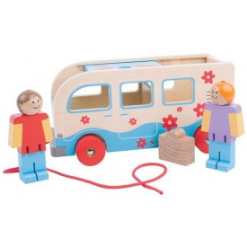 Bigjigs Toys dřevěné tahací obytné auto