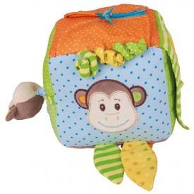 Bigjigs Toys textilní aktivní kostka - Opička