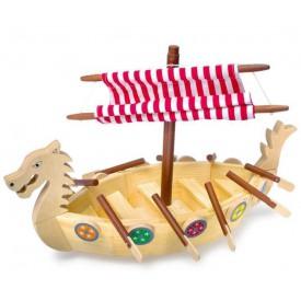 Dřevěné hračky - Dřevěná vikingská loď