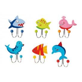 Věšáky - Mořská zvířátka - 6ks