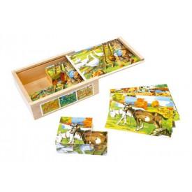 Dřevěné obrázkové kostky kubusy - Venkov