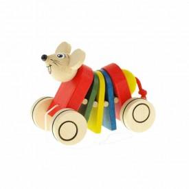Dřevěná tahací hračka - Myš klapací